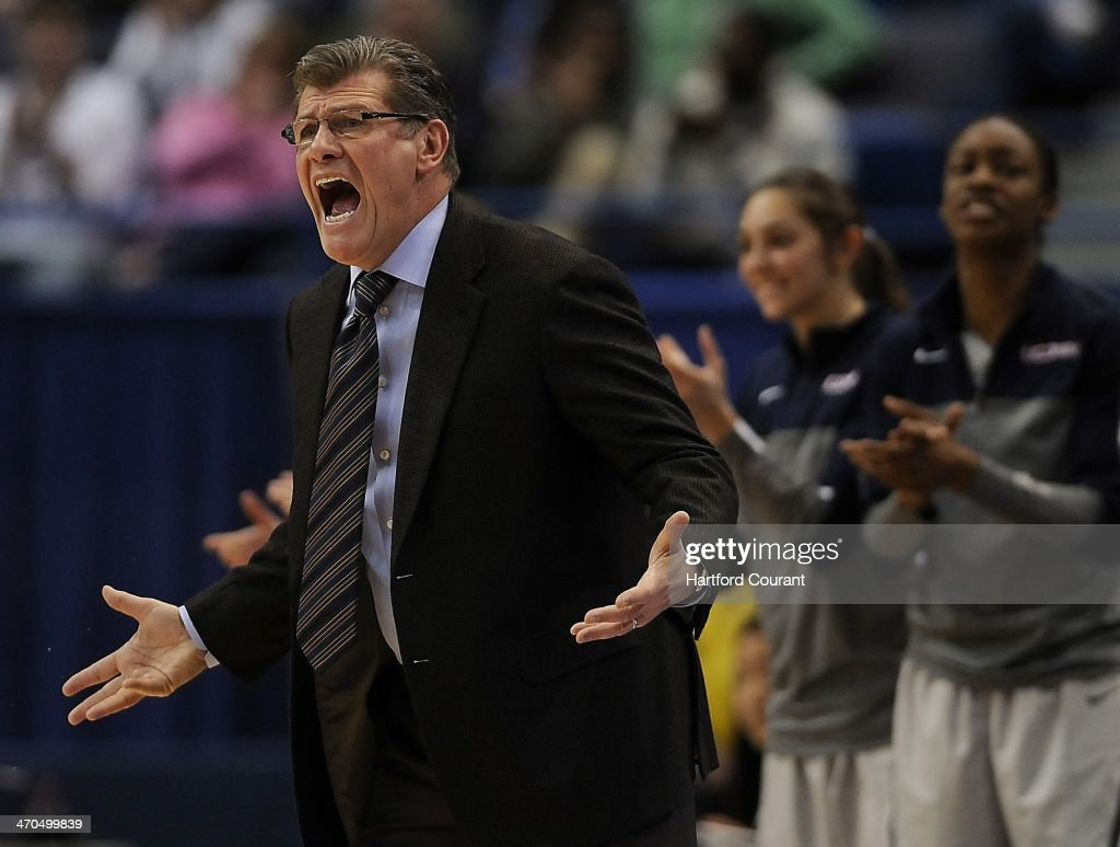 Connecticut Huskies head coach Geno Auriemma reacts to his team's performance during the first half against the Central Florida Knights at the XL Center in Hartford, Conn., on Wednesday, Feb. 19, 2014.