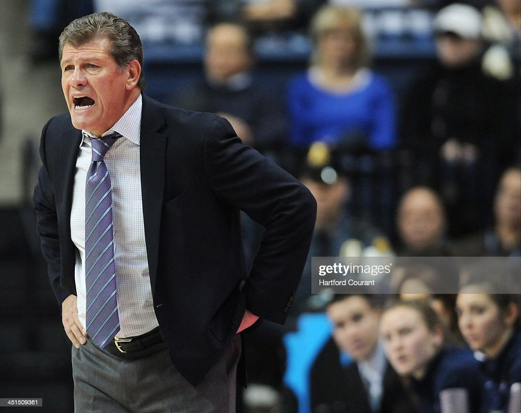 Connecticut Huskies head coach Geno Auriemma shouts a play out during the first half against Boston University at Gampel Pavilion in Storrs, Conn., Friday, Nov. 22, 2013. UConn defeated Boston U., 96-38.