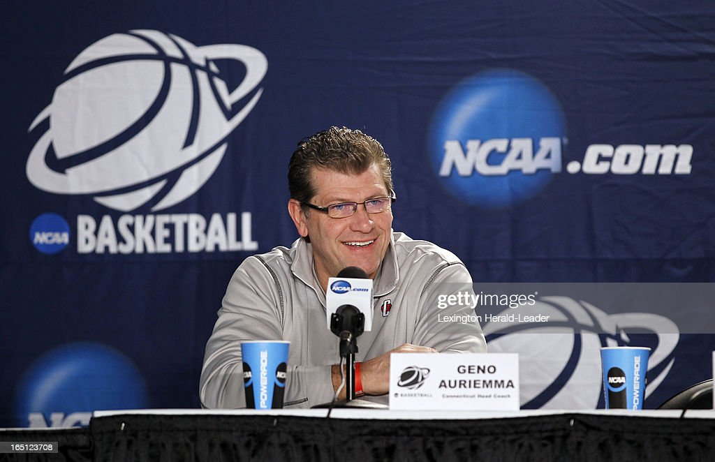 Connecticut Huskies head coach Geno Auriemma spoke during a press conference at Webster Bank Arena in Bridgeport Connecticut, Sunday, March 31, 2013. The Huskies will face the University of Kentucky on Monday night in the regional finals.