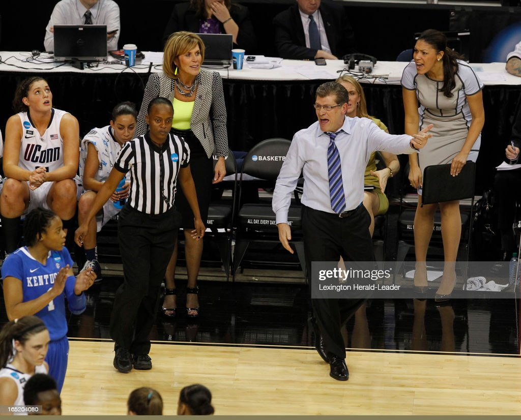 Connecticut Huskies head coach Geno Auriemma yells at a ref during first-half action in the NCAA women's regional finals at Webster Bank Arena in Bridgeport, Connecticut, Monday, April 01, 2013.