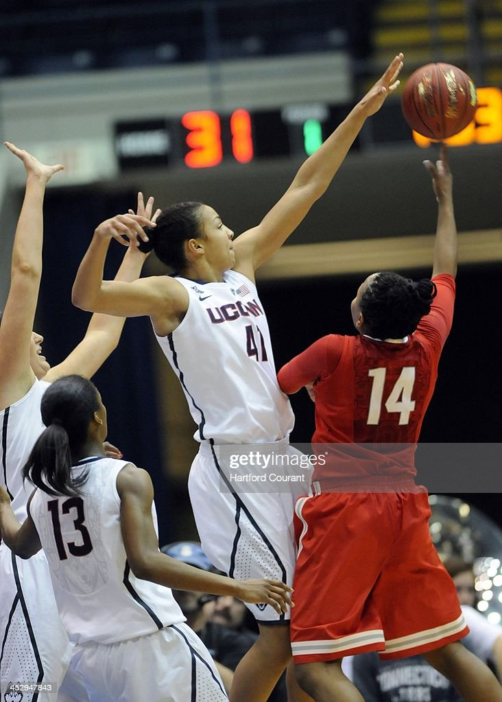 Connecticut Huskies' Kiah Stokes blocks a shot in the first half against the Ohio State Buckeyes during the Basketball Hall of Fame Women's Challenge tournament at the Mass Mutual Center in Springfield, Mass., on Sunday, Dec. 1, 2013.