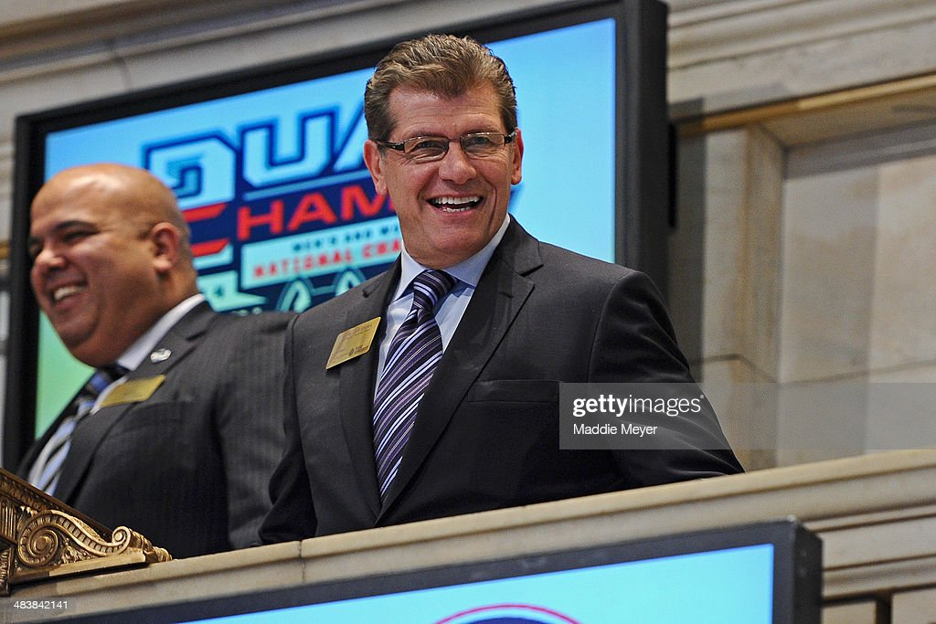 Connecticut Huskies Women's basketball coach Geno Auriemma looks on from the platform at New York Stock Exchange after ringing the closing bell on April 10, 2014 in New York City.