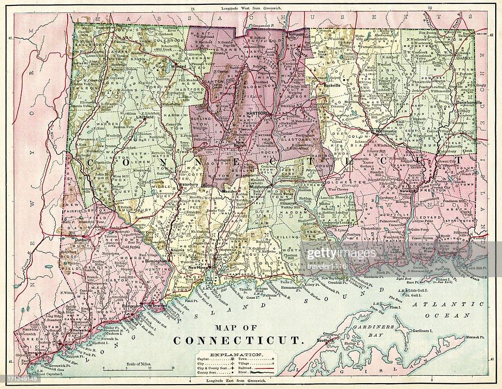 Connecticut Map 1884 XXXL