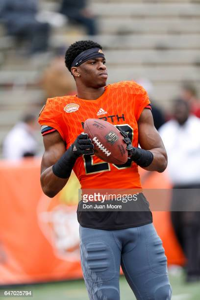 Connecticut Safety Obi Melifonwu of the North Team before the start of the 2017 Resse's Senior Bowl at LaddPeebles Stadium on January 28 2017 in...