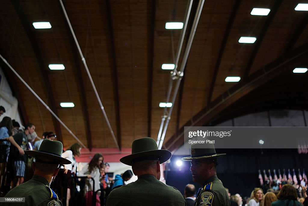 Connecticut State Police stand in the auditorium as U.S. President Barack Obama delivers a speech on gun control at the University of Hartford on April 8, 2013 in West Hartford, Connecticut. Nearly four months after the Sandy Hook Elementary School shootings, Connecticut has passed some of the toughest gun control measures in the nation.
