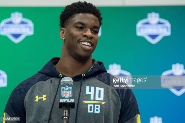 Connecticut strong safety HenryWilliam Melifonwu answers questions from the media during the NFL Scouting Combine on March 5 2017 at Lucas Oil...