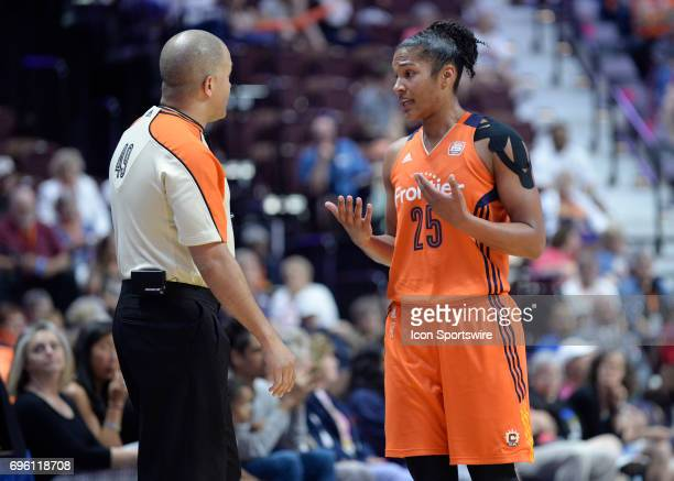 Connecticut Sun Forward Alyssa Thomas complains to the referee during the game as the Connecticut Sun host the New York Liberty on June 14 2017 at...