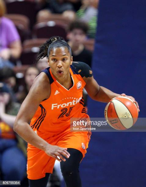 Connecticut Sun forward Alyssa Thomas fast breaks during the first half of an WNBA game between Phoenix Mercury and Connecticut Sun on August 4 at...