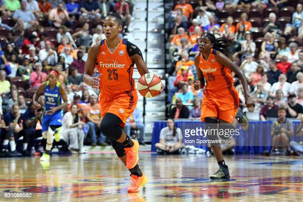 Connecticut Sun forward Alyssa Thomas fast breaks during the first half of an WNBA game between Dallas Wings and Connecticut Sun on August 12 at...