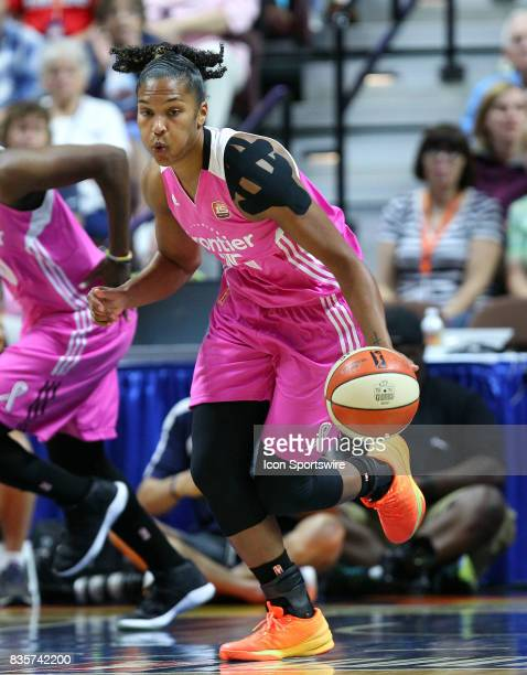 Connecticut Sun forward Alyssa Thomas fast breaks during the first half of an WNBA game between New York Liberty and Connecticut Sun on August 18 at...