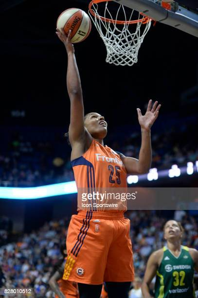 Connecticut Sun Forward Alyssa Thomas scores on a fast break opportunity during the game as the Connecticut Sun host the Seattle Storm on August 08...