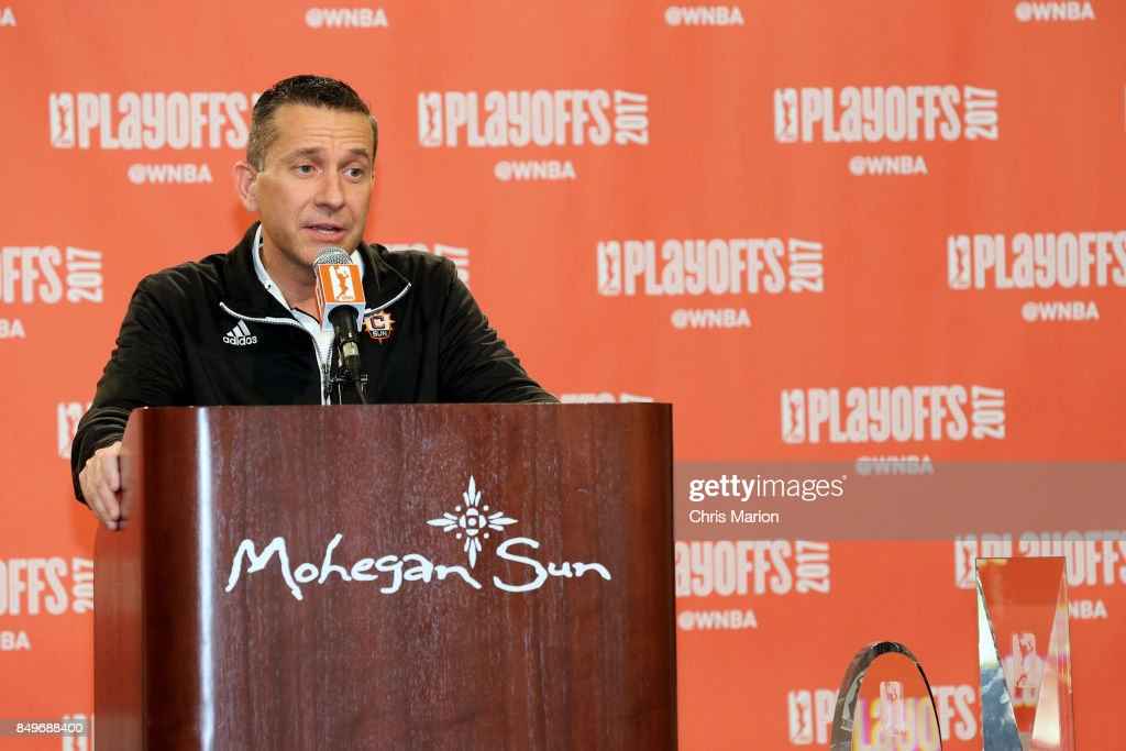 Connecticut Sun General Manager Curt Miller is named the 2017 WNBA Basketball Executive of the Year after the game against the Phoenix Mercury in Round Two of the 2017 WNBA Playoffs on September 10, 2017 at Mohegan Sun Arena in Uncasville, CT.