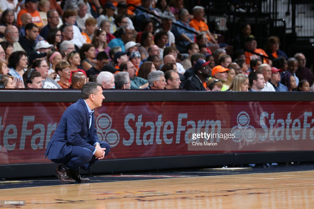Connecticut Sun General Manager Curt Miller who is named the 2017 WNBA Basketball Executive of the Year coaches against the Phoenix Mercury in Round Two of the 2017 WNBA Playoffs on September 10, 2017 at Mohegan Sun Arena in Uncasville, CT.