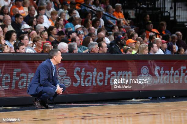 Connecticut Sun General Manager Curt Miller who is named the 2017 WNBA Basketball Executive of the Year coaches against the Phoenix Mercury in Round...