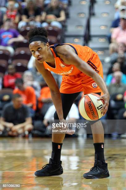 Connecticut Sun guard Jasmine Thomas glances at the shot clock during the first half of an WNBA game between Dallas Wings and Connecticut Sun on...