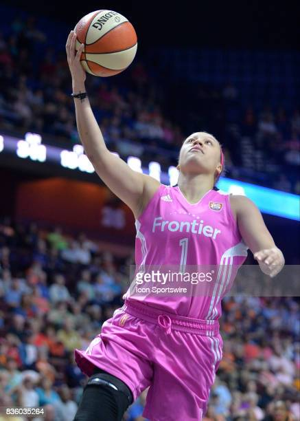 Connecticut Sun Guard Rachel Banham scores during a fast break opportunity during the game as the Connecticut Sun host the Phoenix Mercury on August...
