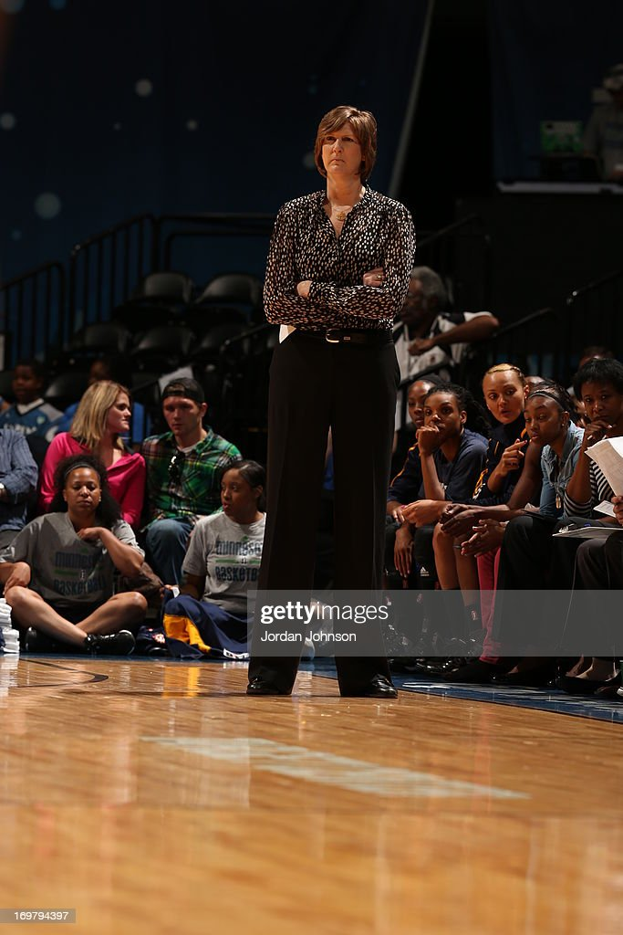 Connecticut Sun Head Coach Anne Donovan looks on during the WNBA game against the Minnesota Lynx on June 1 2013 at Target Center in Minneapolis...