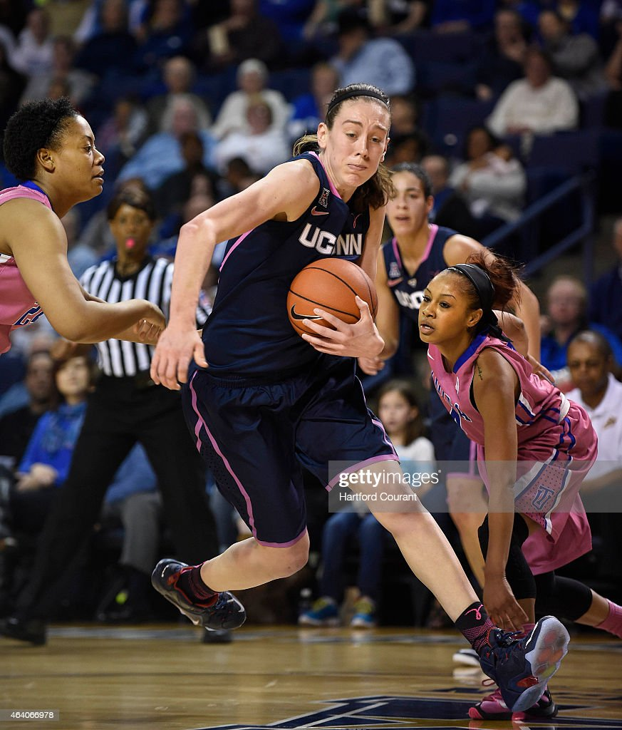 Connecticut's <a gi-track='captionPersonalityLinkClicked' href=/galleries/search?phrase=Breanna+Stewart&family=editorial&specificpeople=8564806 ng-click='$event.stopPropagation()'>Breanna Stewart</a> (30) drives to the basket against Tulsa's Autura Campbell and Ashley Clark at the Reynolds Center in Tulsa, Okla., on Saturday, Feb. 21, 2015. UConn won, 92-46.