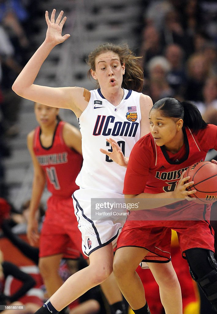 Connecticut's Breanna Stewart (30) pressures Louisville's Monique Reid in the second half in the women's NCAA Tournament finals at New Orleans Arena in New Orleans, Louisiana, Tuesday, April 9, 2013. UConn won, 93-60.