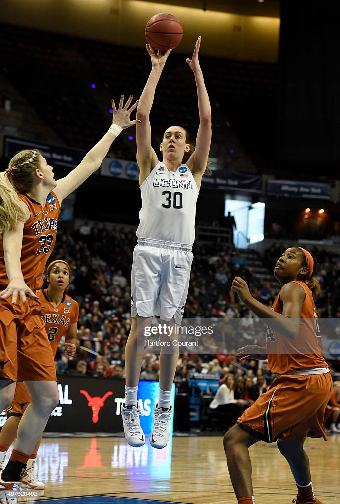 Connecticut's <a gi-track='captionPersonalityLinkClicked' href=/galleries/search?phrase=Breanna+Stewart&family=editorial&specificpeople=8564806 ng-click='$event.stopPropagation()'>Breanna Stewart</a> (30) scores against Texas in the Albany Regional semifinal of the NCAA Tournament at the Times Union Arena in Albany, N.Y., on Saturday, March 28, 2015. UConn advanced, 105-54.