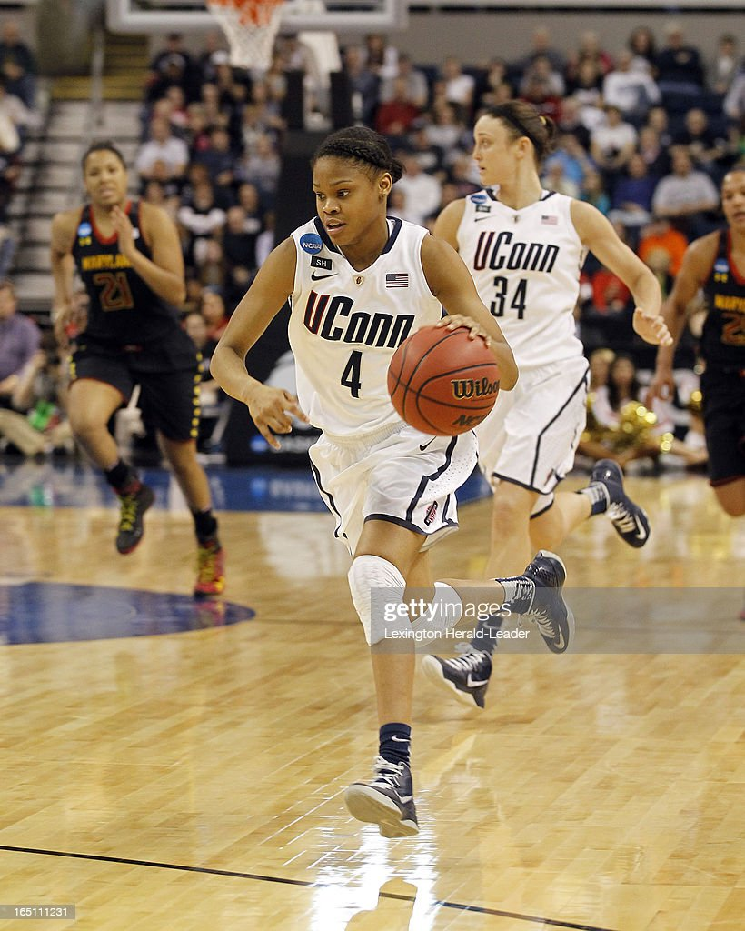 Connecticut's Moriah Jefferson (4) brings the ball upcourt after she made a steal against Maryland in their East Region Sweet 16 game on Saturday, March 30, 2013, at the Webster Bank Arena at Harbor Yard in Bridgeport, Connecticut. UConn moved on, 76-50.