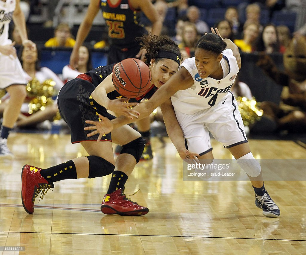 Connecticut's Moriah Jefferson, right, steals the ball from Maryland's Chloe Pavlech in their East Region Sweet 16 game on Saturday, March 30, 2013, at the Webster Bank Arena at Harbor Yard in Bridgeport, Connecticut. UConn moved on, 76-50.