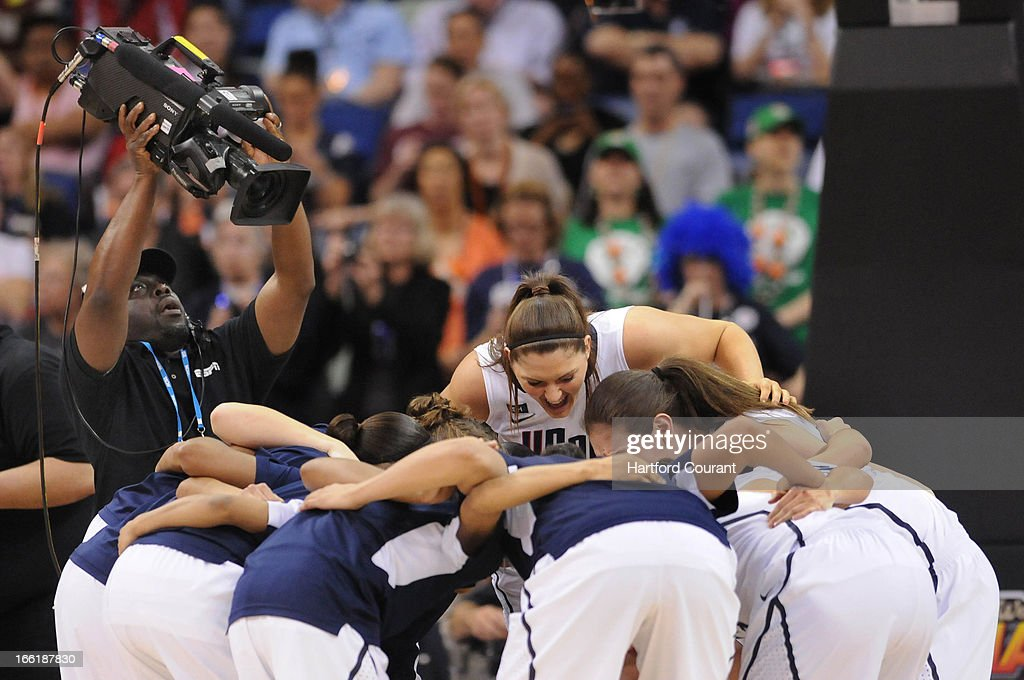 Connecticut's Stefanie Dolson (31) pumps up her team in a huddle before the start of action against Louisville in the women's NCAA Tournament finals at New Orleans Arena in New Orleans, Louisiana, Tuesday, April 9, 2013. UConn won, 93-60.