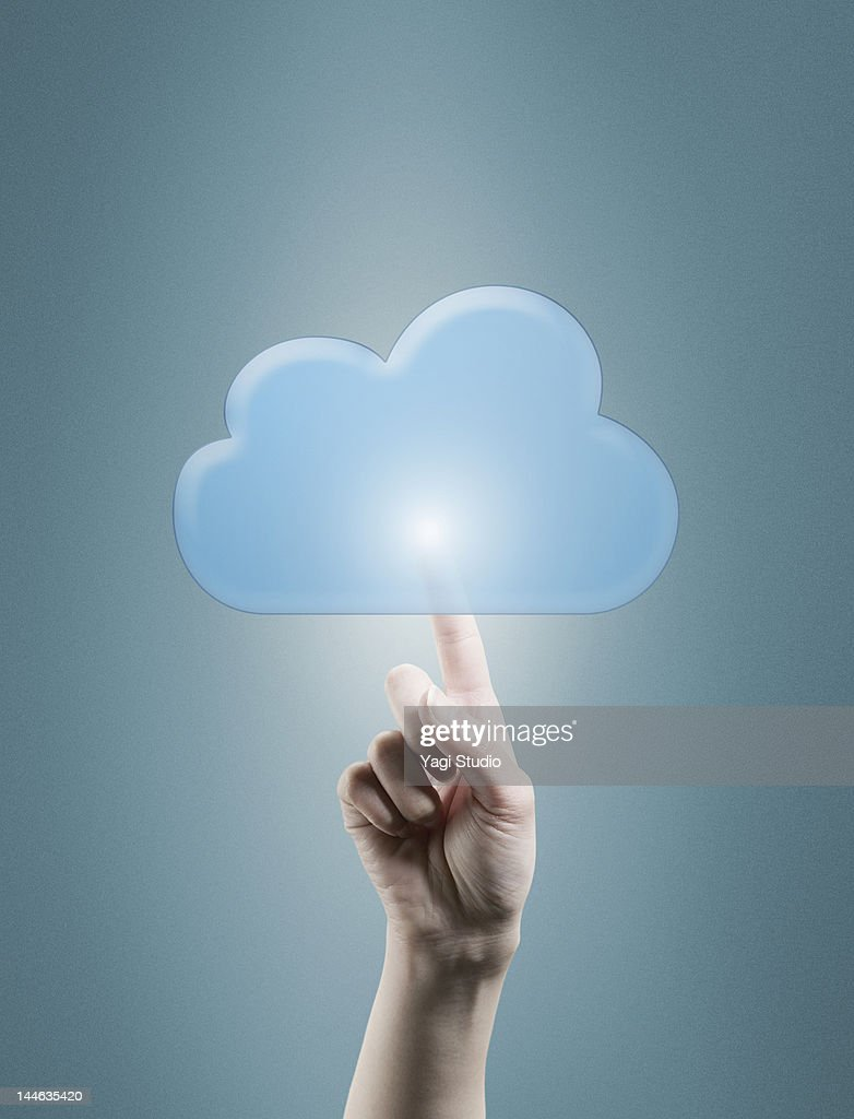 Connection with the cloud network in the fingertip : Stock Photo