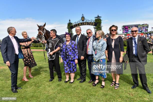 Connections and owner Debbie Kepitis with Winx after winning the Seppelt Turnbull Stakes at Flemington Racecourse on October 07 2017 in Flemington...