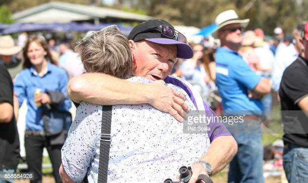 Connections celebrate after Harlem Star ridden by John Robertson won Cohuna IGA BM52 Handicap at Gunbower Racecourse on October 07 2017 in Gunbower...
