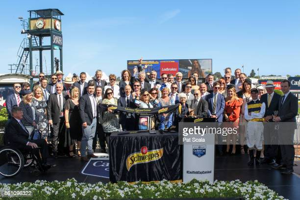Connections of Aloisia after winning the Schweppes Thousand Guineas at Caulfield Racecourse on October 14 2017 in Caulfield Australia