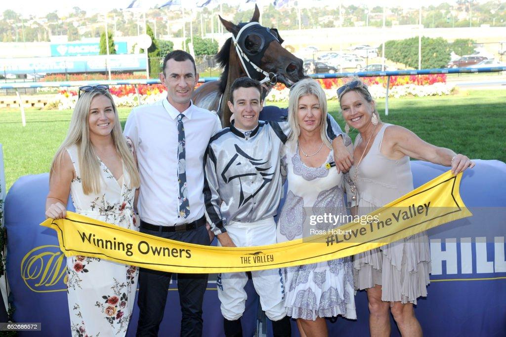 Connections of Bel Burgess with sponsors after winning Ranvet Handicap at Moonee Valley Racecourse on March 13, 2017 in Moonee Ponds, Australia.