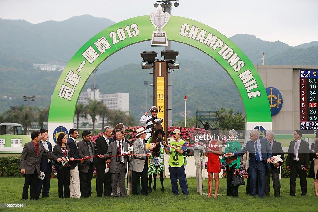 Connections of Dan Excel after winning the Group 1 The Champions Mile during The Champions Mile meeting at Sha Tin racecourse on May 5, 2013, in Hong Kong, Hong Kong.