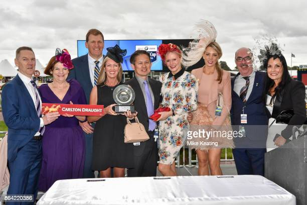 Connections of Fuhryk after winning the Carlton Draught Alinghi Stakes at Caulfield Racecourse on October 21 2017 in Caulfield Australia