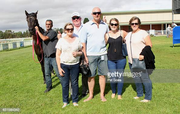 Connections of Kookiecutter after winning Bakers Brew Ararat BM58 Handicapat Ararat Racecourse on January 13 2017 in Ararat Australia
