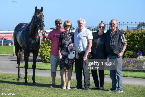 Connections of Leishman after winning the Ballan District Health Care 0 58 Handicap at Geelong Racecourse on November 11 2017 in Geelong Australia