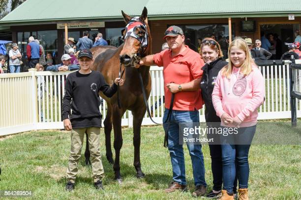 Connections of Normandy Lad after winning McConnell Dowell Martinus Rail BM52 Handicap at Avoca Racecourse on October 21 2017 in Avoca Australia