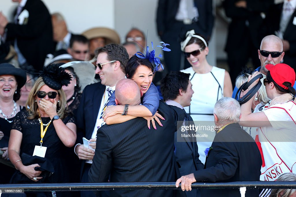 Connections of Polanski celebrate after it won the Victoria Derby during Derby Day at Flemington Racecourse on November 2, 2013 in Melbourne, Australia.