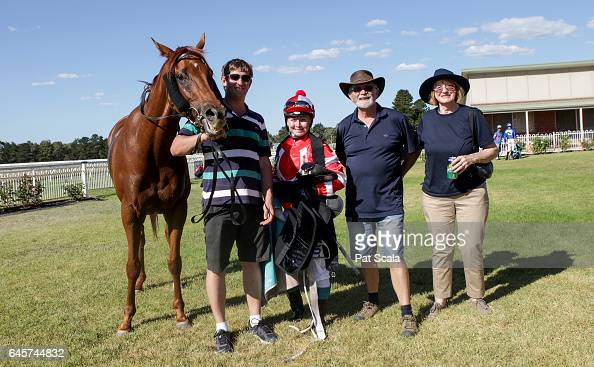 Connections of Sirfontein after winning Homemade Café Beaufort BM58 Handicap at Ararat Racecourse on February 27 2017 in Ararat Australia