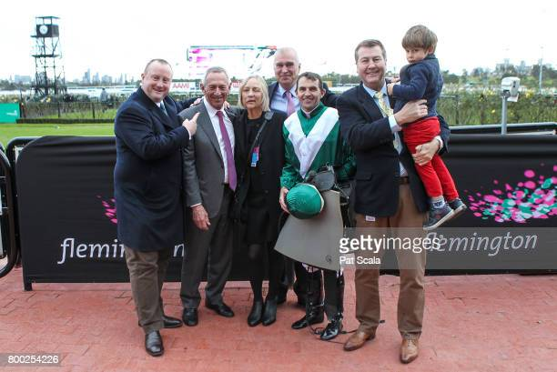 Connections of Thaad after winning Bay and Ranges Region Handicapat Flemington Racecourse on June 24 2017 in Flemington Australia