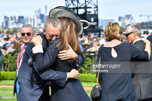 Connections of Winx after winning the Seppelt Turnbull Stakes at Flemington Racecourse on October 07 2017 in Flemington Australia