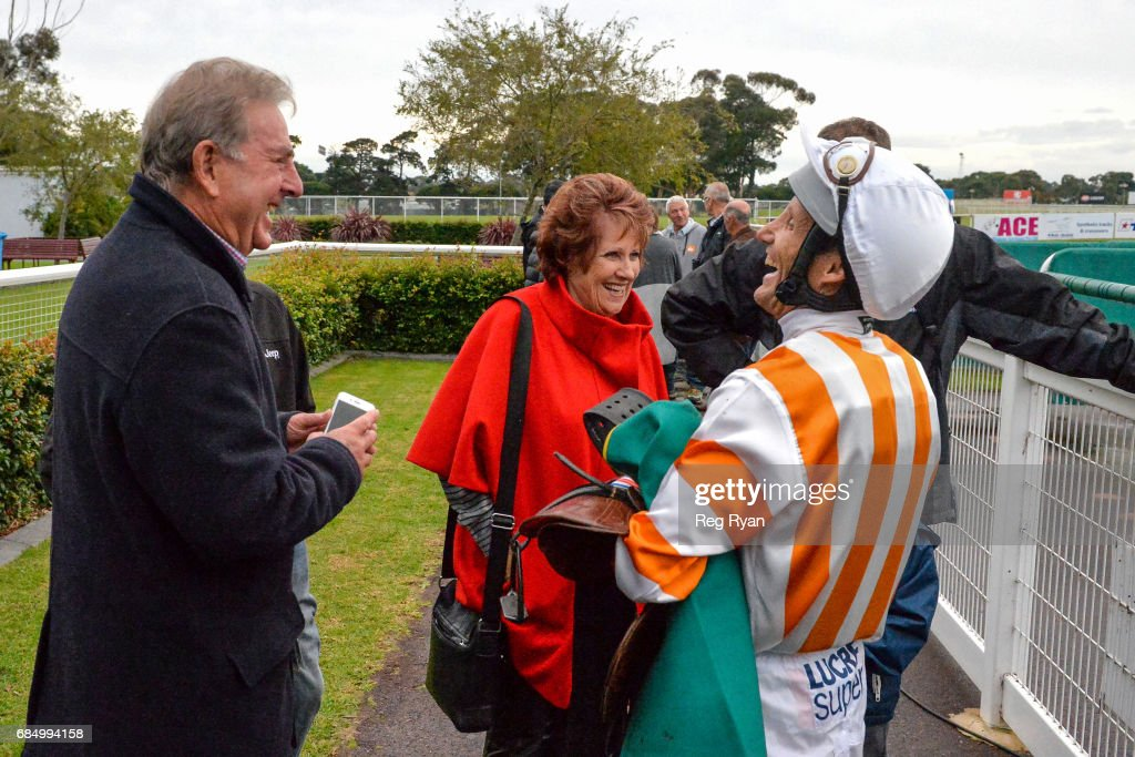 Connections of Zamboanga with Damien Oliver after winning the Rip Curl BM58 Handicap, at Geelong Racecourse on May 19, 2017 in Geelong, Australia.