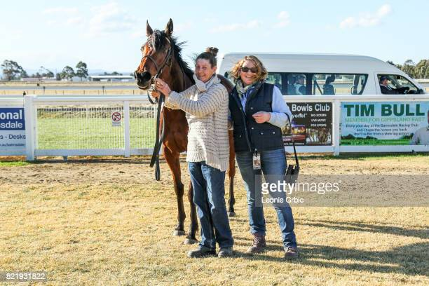 Connections pose with Kushchyenko after winning the Bairnsdale Mazda Maiden Plate at Bairnsdale Racecourse on July 25 2017 in Bairnsdale Australia