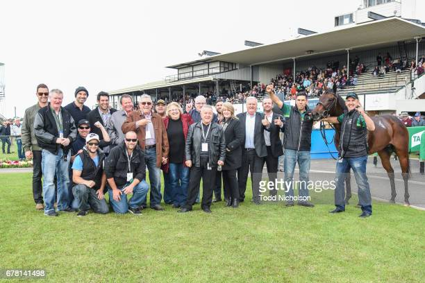 Connections pose with Moss 'n' Dale after winning the Mercedes Benz Handicap at Warrnambool Racecourse on May 04 2017 in Warrnambool Australia
