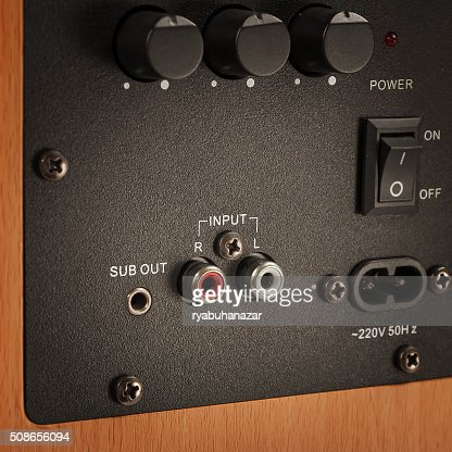 Connectors and knobs of professional audio speaker : Stock Photo