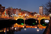 Night view of the O'Connell Bridge and the north banks of the river Liffey in Dublin City Centre, it was built between 1791 and 1794