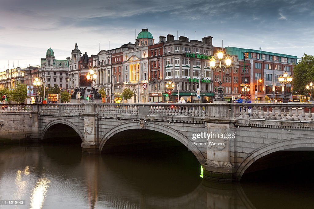 O'Connell Bridge over Liffey River and buildings on Bachelor's Walk and O'Connell Street.