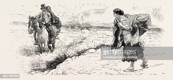 Connemara Market Folk Engraving 1884