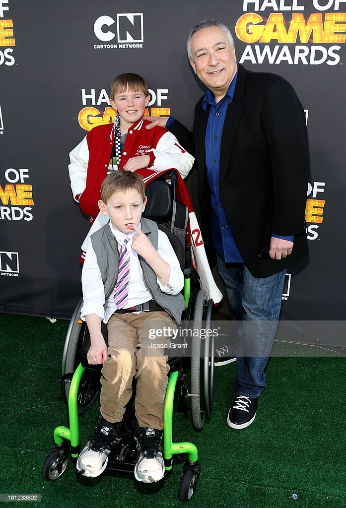 Conner Long, Caden Long and President/COO of Cartoon Network, Stuart Snyder attend the Third Annual Hall of Game Awards hosted by Cartoon Network at Barker Hangar on February 9, 2013 in Santa Monica, California. 23270_002_JG_0275.JPG