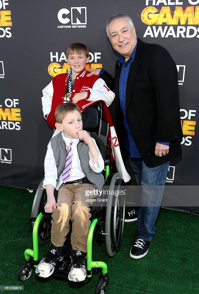 Conner Long, Caden Long and President/COO of Cartoon Network, Stuart Snyder attend the Third Annual Hall of Game Awards hosted by Cartoon Network at Barker Hangar on February 9, 2013 in Santa Monica, California. 23270_002_JG_0280.JPG